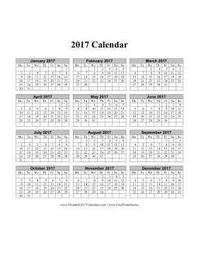 3 Calendars On One Page Printable 2017 Calendar On One Page Vertical Months Run