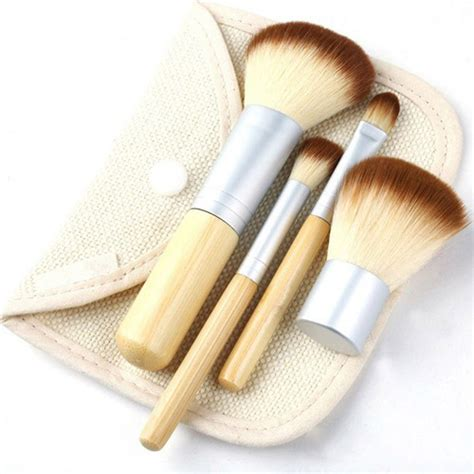11 Kuas Make Up Bamboo kuas make up bambu 4 set jakartanotebook