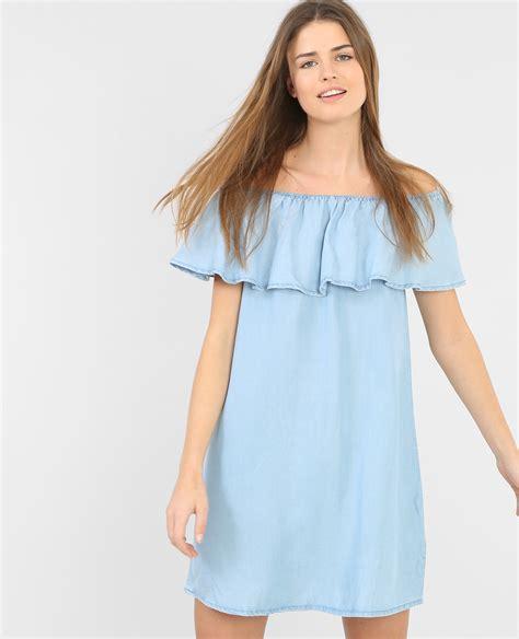 avondjurk bershka denim jurk met ruches lichtblauw 780404b21a06 pimkie