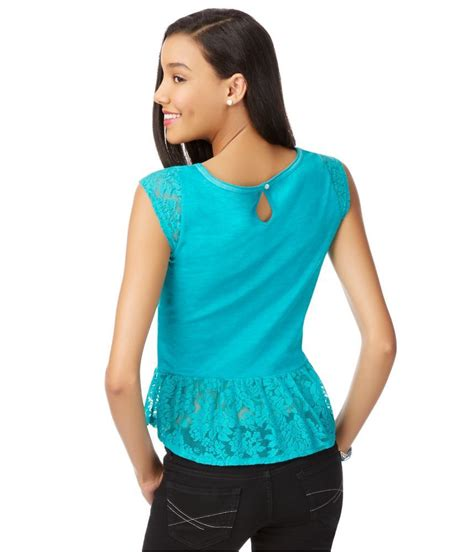 Blouse Brokat Pepplum 2 aeropostale womens lace peplum knit blouse ebay