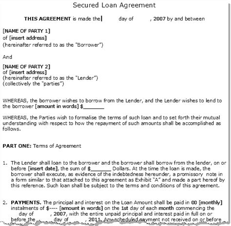 secured loan agreement template secured loan form 600 dollar loans in 1 min
