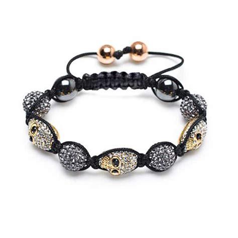 Shamballa Inspired Bracelet Gold Crystal Skull Swarovski