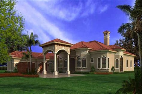 Single Floor 4 Bedroom House Plans Kerala spanish mediterranean home plan 6095 sq ft house plan