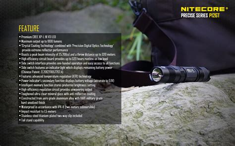 Nitecore P12gt Senter Led Cree Xp L Hi V3 1000 Lumens senter led nitecore p12gt cree xp l hi v3 senter