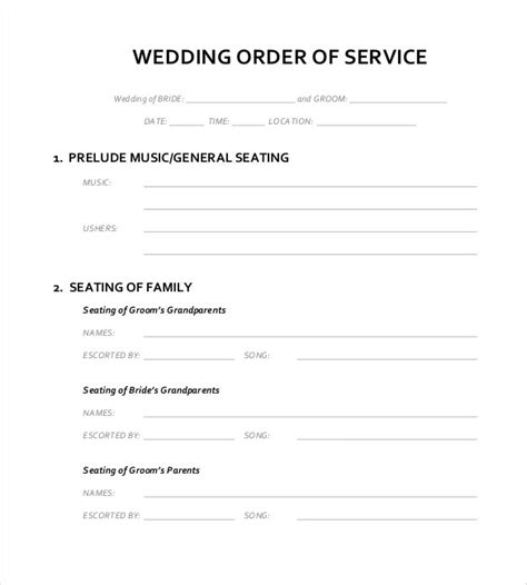 order of service wedding template free 16 wedding order of service templates free sle