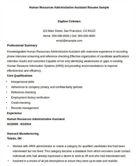 free sle resume for human resources assistant 28 images