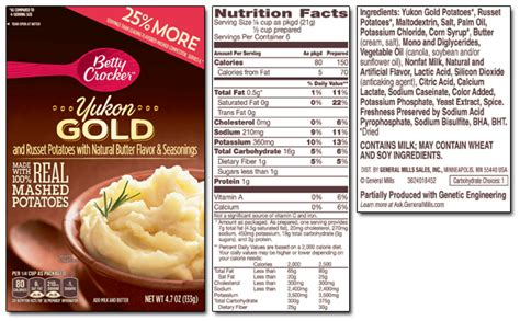 country style nutritional information betty crocker product list