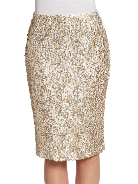 josie natori altin sequin pencil skirt in gold lyst