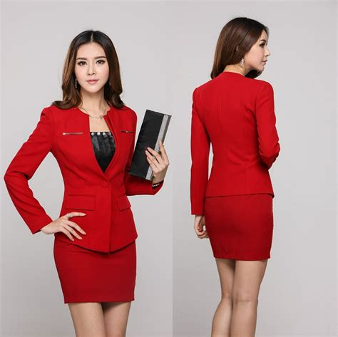2015 women working suits elegant red professional business women work wear 2015