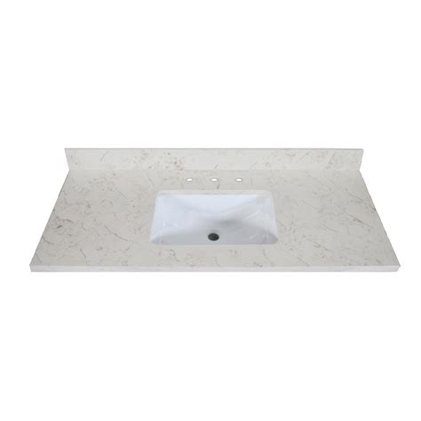 quartz vanity tops with undermount sink shop allen roth eagle marbled beige quartz undermount