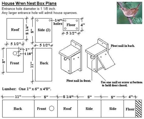 wren house plans pdf wren nest box out of a 1x6 board pullin weeds