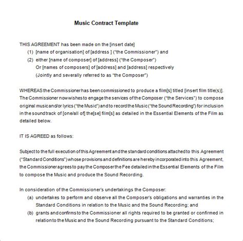 musicians contract template 18 contract templates word pdf docs