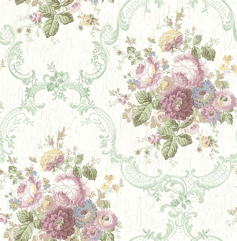 dollhouse miniature shabby chic wallpaper pink and green