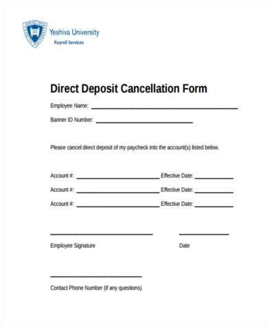 direct debit cancellation letter templates sle direct deposit cancellation forms 7 free