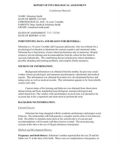 Psychological Evaluation Template Royaleducation Info Child Psychiatric Template