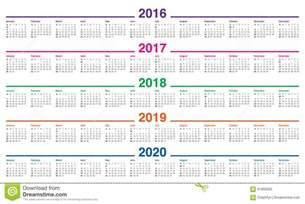 3 Year Calendar 2018 To 2020 Calendar 2016 2017 2018 2019 2020 Stock Vector Image