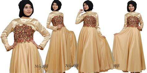 Baju Warna Gold dress pesta muslimah auto design tech