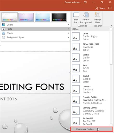 customize themes in ppt create your own theme fonts set in powerpoint 2016 for windows