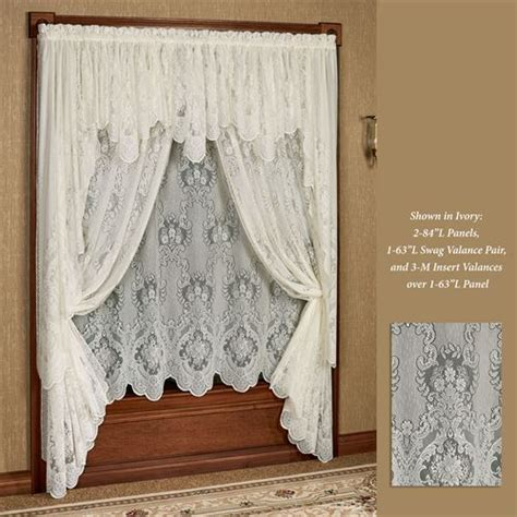 63 swag curtains vanessa lace long swag valance window treatment