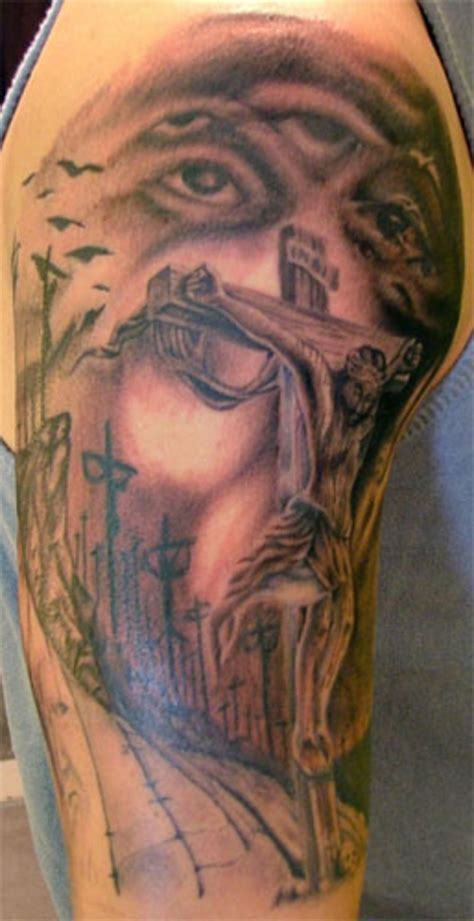 half sleeve tattoo with cross 30 christian tattoos on sleeve
