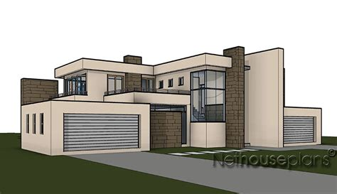 3d home design images of double story building home design with 4 bedrooms modern style