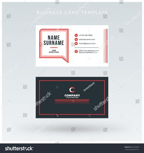 sided business card template open office doublesided business card template vector stock vector