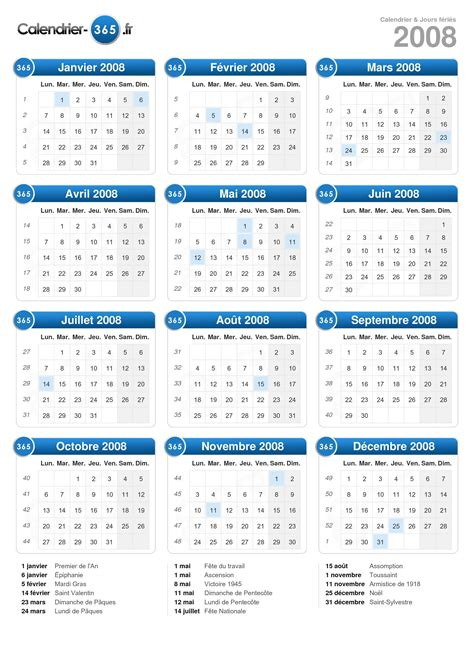 Calendrier Juillet 2008 Calendrier 2008