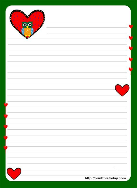 Owl Writing Paper Letter Stationery Template