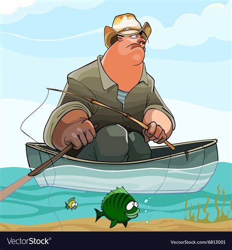 cartoon fisherman in boat cartoon fisherman is fishing from a boat royalty free