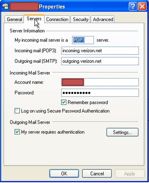 windows live mail ssl account definitions for verizon net outlook express ssl account definitions for verizon net