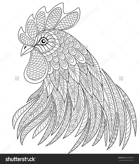 rooster head coloring page rooster head in zentangle style symbol of chinese new