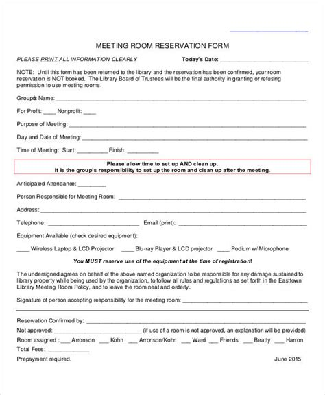 Reservation Letter Conference Room 31 Reservation Form Templates