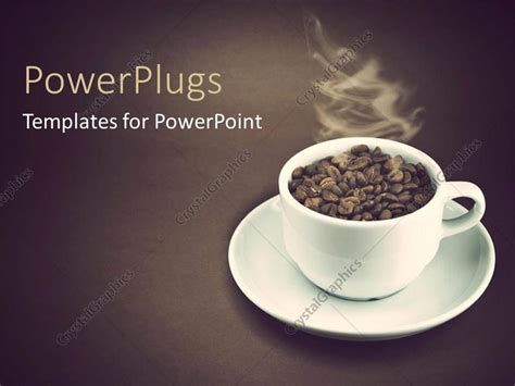 Powerpoint Template A White Cup Filled With Coffee Seeds And Steam From It 7538 Coffee Powerpoint Template