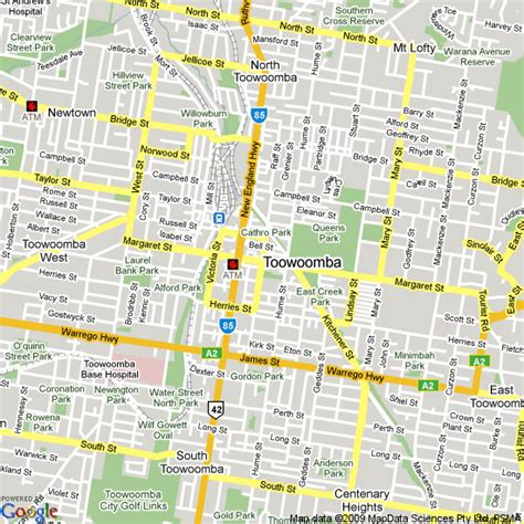 printable map toowoomba map of toowoomba queensland hotels accommodation
