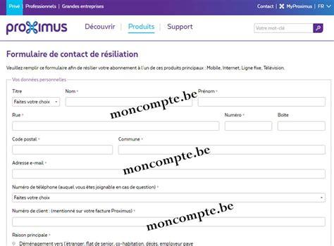 Résiliation Proximus Lettre Proximus R 233 Silier Mon Abonnement Sans Frais Belgacom