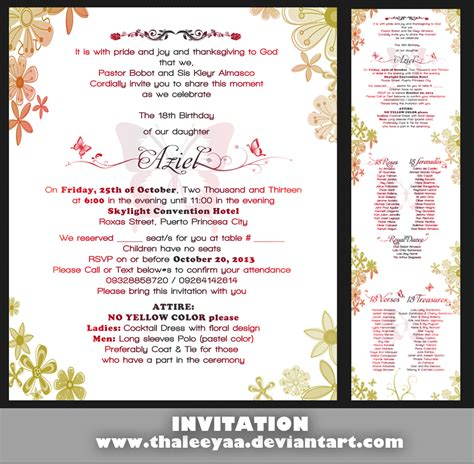 design of invitation card for debut debut invitation by thaleeyaa on deviantart
