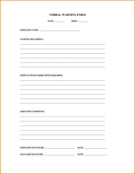 Employee Verbal Warning Template Letters Free Sle Letters Communications Manual Template