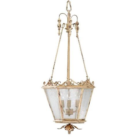 Maison French Country Antique White 3 Light Entry White Antique Chandelier