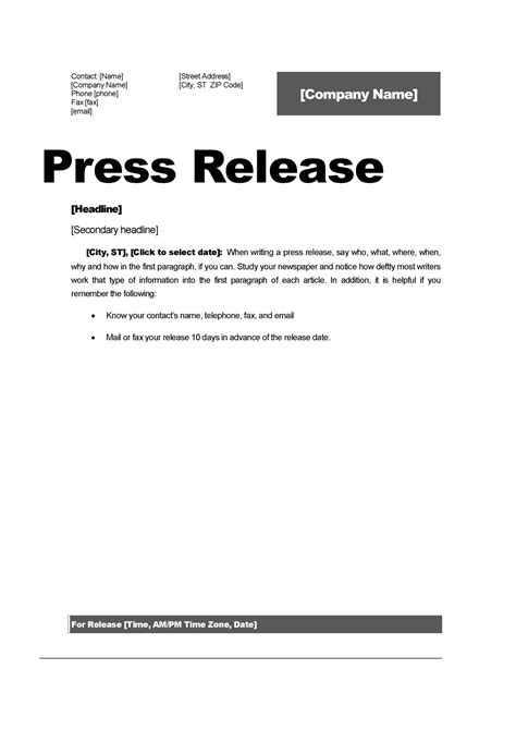 template of a press release top 5 resources to get free press release templates word