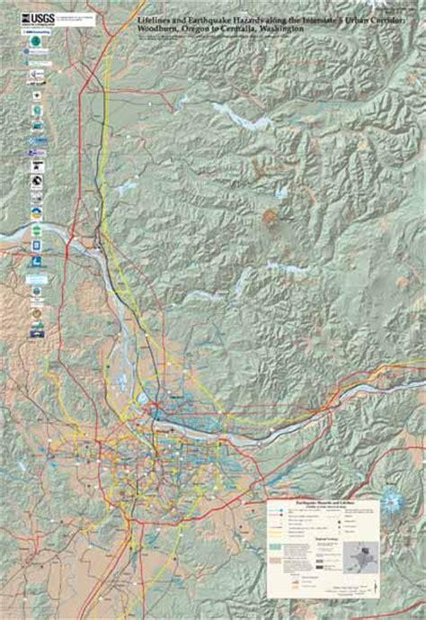 map of oregon i 5 corridor lifelines and earthquake hazards along the interstate 5