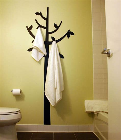 Hook and decal combination double up as engaging bathroom wall decor