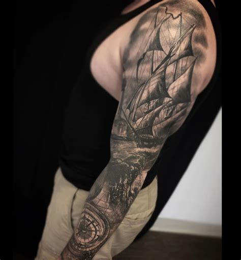 nautical tattoo sleeve sailing ship compass nautical sleeve best