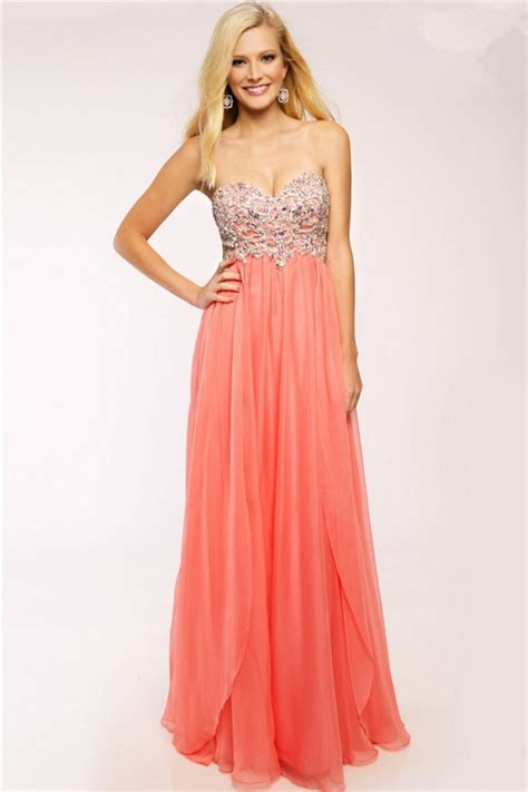 beaded strapless prom dress flowing a line strapless sweetheart coral chiffon beaded