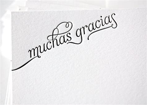 printable thank you cards in spanish muchas gracias letterpress thank you cards in by