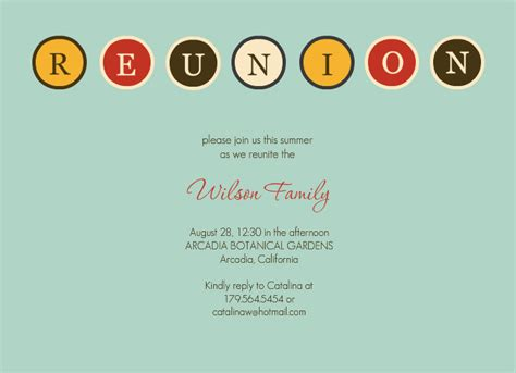 reunion invitations template best template collection