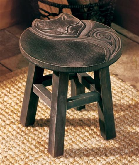 Cat Black Stool by Country Carved Wooden Stools Flower Rooster Or