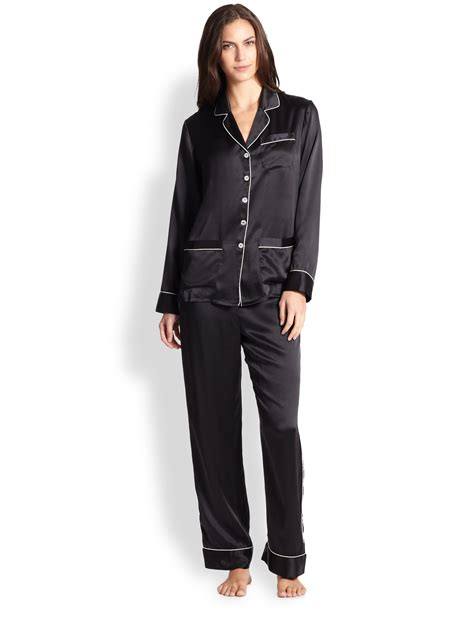 pajamas satin black halle silk satin pajamas in black no color lyst