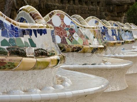 gaudi bench bench with the famous mosaic on the balcony of park guell