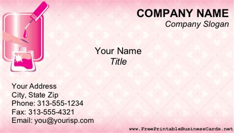 printable free business cards manicurist business card