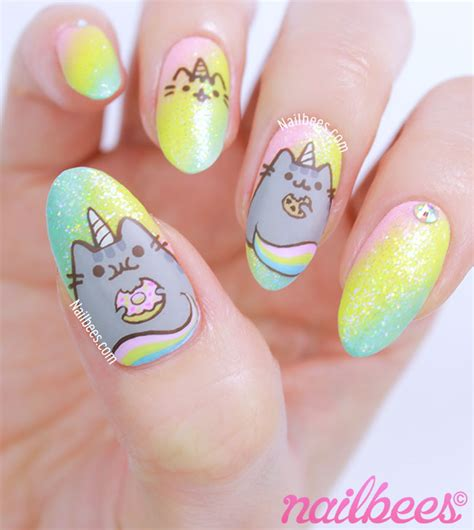 Unicorn Nail Designs pusheen unicorn nail nailbees